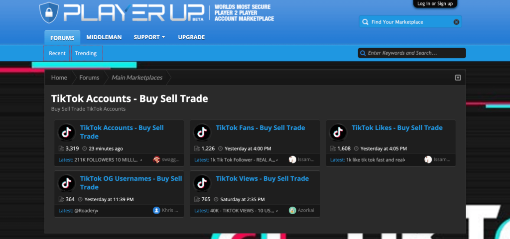 Playerup is another TikTok account marketplace website where you can sell or buy accounts.